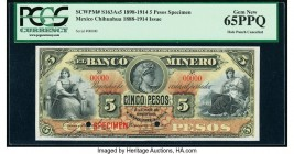 Mexico Banco Minero 5 Pesos 1898-1914 Pick S163As5 M131s Specimen PCGS Currency Gem New 65PPQ. Red Specimen overprints; two POCs.  HID09801242017  © 2...