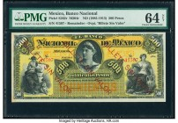 Mexico Banco Nacional de Mexicano 500 Pesos ND (1885-1913) Pick S262r s M304r Remainder PMG Choice Uncirculated 64 Net. Previously mounted; red overpr...