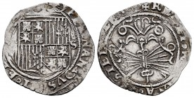 Fernando e Isabel (1474-1504). 1 real. Sevilla. (Cal-409). (Lf-no cita). Ag. 3,39 g. S a la derecha del escudo. MBC-. Est...40,00. 