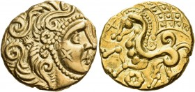 "CELTIC, Northeast Gaul. Parisii. Circa 100-57 BC. Stater (Gold, 21.5 mm, 7.36 g, 1 h), branch mint ""B"", class I. Celticized head of Apollo to right, w..."