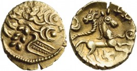 "CELTIC, Northeast Gaul. Uncertain tribe, perhaps the Suessiones or the Ambiani. Circa 60-30/25 BC. Quarter Stater (Gold, 12.5 mm, 1.40 g, 6 h), "" au p..."