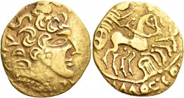 CELTIC, Northwest Gaul. Carnutes. First half of the 1st century BC. Stater (Gold, 22 mm, 7.08 g, 12 h). Celticized head of Apollo to right, with parti...