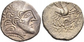 CELTIC, Northwest Gaul. Carnutes. First half of the 1st century BC. Stater (Electrum, 20.5 mm, 6.36 g, 1 h). Celticized head of Apollo to right, with ...