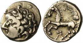 CELTIC, Northwest Gaul. Carnutes. First half of the 1st century BC. Quarter Stater (Gold, 12 mm, 1.80 g, 5 h). Celticized head of Apollo to left, with...