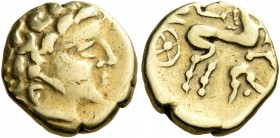 CELTIC, Northwest Gaul. Uncertain tribe, circa 3rd-2nd century BC. Quarter Stater (Gold, 11 mm, 1.84 g, 12 h), imitating the staters of Philip II of M...