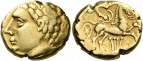 "CELTIC, Central Gaul. Arverni. Late 2nd-early 1st century BC. Stater (Gold, 17 mm, 7.40 g, 1 h), ""à la lyre"" type. Laureate male head to left. Rev. Ch..."