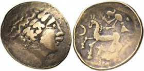 "CELTIC, Central Europe - Switzerland. Helvetii. Late 2nd-early 1st century BC. Scyphate stater (Electrum, 24 mm, 7.12 g, 12 h), ""à la croisette"" type...."