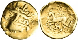 CELTIC, Central Europe - Switzerland. Helvetii. Late 2nd-early 1st century BC. Quarter Stater (Gold, 15 mm, 1.94 g, 6 h). Heavily celticized head of A...