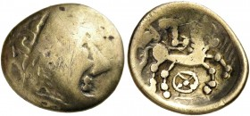 "CELTIC, Central Europe - Switzerland. Sequani - Helvetii. Late 2nd - early 1st century BC. Quarter Stater (Electrum, 15 mm, 1.60 g, 11 h), ""à la roue""..."