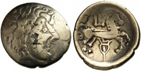 "CELTIC, Central Europe - Switzerland. Sequani - Helvetii. Late 2nd - early 1st century BC. Quarter Stater (Electrum, 15 mm, 1.51 g, 2 h), ""à la lyre"" ..."
