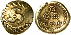 "CELTIC, Central Europe. Vindelici. Early 1st century BC. Stater (Gold, 18 mm, 7.07 g, 2 h), ""Regenbogenschüsselchen"" type. Triskeles within a wreath-l..."