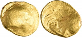 "CELTIC, Central Europe. Boii (?). Circa 2nd - 1st century BC. Stater (Gold, 18 mm, 8.03 g), ""Vorstufen zum Muscheltyp"". Irregular, smooth bulge, the r..."