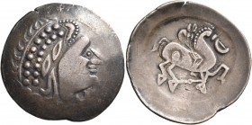 CELTIC, Carpathian region. Uncertain tribe. Late 2nd-early 1st century BC. Tetradrachm (Billon, 33 mm, 12.67 g, 12 h), Zeuskopf/Henkelarmreiter type. ...