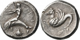 CALABRIA. Tarentum. Circa 465-455 BC. Nomos (Silver, 19 mm, 8.16 g, 12 h). ΤΑΡΑΣ Phalanthos, nude and with his arms outstretched to left, riding a dol...