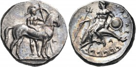CALABRIA. Tarentum. Circa 344-340 BC. Nomos (Silver, 21 mm, 7.82 g, 3 h). Warrior, nude but for crested helmet, standing facing behind bridled horse t...