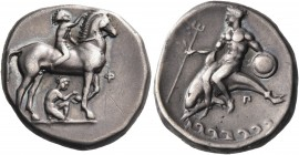 CALABRIA. Tarentum. Circa 340-335 BC. Nomos (Silver, 20 mm, 7.76 g, 3 h). Nude jockey riding horse standing to right, crowning his horse with a wreath...