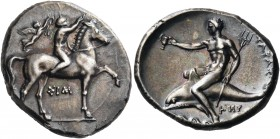 CALABRIA. Tarentum. Circa 330-325 BC. Didrachm or nomos (Silver, 23 mm, 7.89 g, 9 h), struck under the magistrates Sim... and Her.... Nude youth ridin...