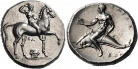 CALABRIA. Tarentum. Circa 302 BC. Didrachm or nomos (Silver, 21 mm, 7.91 g, 3 h), struck under the magistrates, Sa... and Kon.... Youthful nude jockey...