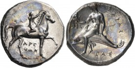CALABRIA. Tarentum. Circa 302-280 BC. Nomos (Silver, 21.5 mm, 7.86 g, 3 h), struck under the magistrates Sa.., Arethon and Sas... Nude youth riding ho...