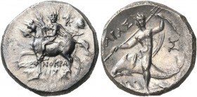 CALABRIA. Tarentum. Circa 240-228 BC. Didrachm or nomos (Silver, 20.5 mm, 6.52 g, 4 h), struck under the magistrate Xenokrates. Armored cavalryman, ri...