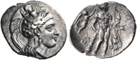 LUCANIA. Herakleia. Circa 340-330 BC. Diobol (Silver, 13 mm, 1.12 g, 6 h). Head of Athena to right, wearing Attic helmet decorated with Skylla. Rev. [...