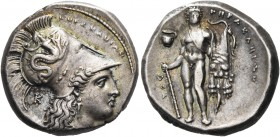 LUCANIA. Herakleia. Circa 330-320 BC. Didrachm or nomos (Silver, 20.5 mm, 7.89 g, 12 h), signed by the engraver Atha.... ˫ΗΡΑΚΛΗΙΩΝ Head of Athena to ...