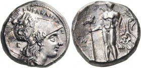 LUCANIA. Herakleia. Circa 281-278 BC. Nomos (Silver, 20 mm, 7.84 g, 5 h), time of Pyrrhos, struck under the magistrate Aris... ˫ΗΡΑΚΛΗΙΩΝ Head of Athe...