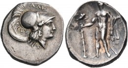 LUCANIA. Herakleia. Circa 281-278 BC. Nomos (Silver, 21 mm, 6.65 g, 10 h), struck under the magistrates Ale..., Eu..., and Z... Head of Athena to righ...