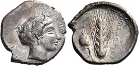 LUCANIA. Metapontum. Circa 400-340 BC. Nomos (Silver, 23 mm, 7.66 g, 7 h), c. 350. NIKA Head of Nike to right, wearing ampyx and sphendone, decorated ...
