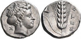 LUCANIA. Metapontum. Circa 400-340 BC. Nomos (Silver, 20.5 mm, 7.83 g, 2 h), struck under the magistrate K.... Head of Demeter to right, wearing sphen...