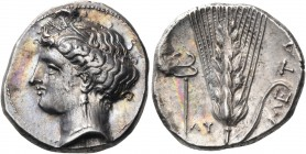 LUCANIA. Metapontum. Circa 340-330 BC. Didrachm or nomos (Silver, 23 mm, 7.92 g, 9 h), struck under the magistrate, Ly... Head of Demeter to left, wea...