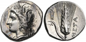 LUCANIA. Metapontum. Circa 330-290 BC. Didrachm or nomos (Silver, 21.5 mm, 7.95 g, 3 h), struck under the magistrate Atha.... Head of Demeter to left,...