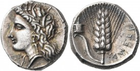 LUCANIA. Metapontum. Circa 330-290 BC. Nomos (Silver, 20 mm, 7.92 g, 2 h), struck under the magistrate Dex... and Ly... Head of Demeter to left, weari...