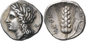 LUCANIA. Metapontum. Circa 290-280 BC. Nomos (Silver, 21 mm, 7.93 g, 10 h), struck under the magistrate Di... Head of Demeter to left, wearing wreath ...