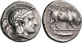 LUCANIA. Thourioi. Circa 443-400 BC. Stater (Silver, 21 mm, 7.83 g, 5 h). Head of Athena to right, wearing an Attic helmet ornamented with an olive br...