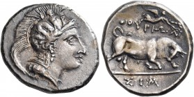 LUCANIA. Thourioi. Circa 350-300 BC. Stater (Silver, 23 mm, 7.77 g, 9 h), struck under the magistrate Sim.... Head of Athena to right, wearing crested...