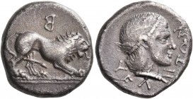 LUCANIA. Velia. Circa 400-340 BC. Didrachm (Silver, 19 mm, 7.40 g, 11 h). Lion at bay to right, standing on a double ground line; above, retrograde Β....
