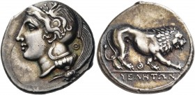 LUCANIA. Velia. Circa 334-300 BC. Didrachm or nomos (Silver, 22 mm, 7.51 g, 8 h). Head of Athena to left, wearing Attic helmet adorned with a griffin ...