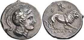 LUCANIA. Velia. Circa 300-280 BC. Didrachm (Silver, 22 mm, 7.30 g, 10 h). Head of Athena to left, wearing crested Attic helmet adorned with a griffin;...