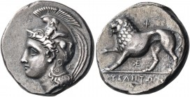 LUCANIA. Velia. Circa 340-334 BC. Nomos (Silver, 20.5 mm, 7.55 g, 5 h), from the Kleudoros Group. Head of Athena to left, wearing Phrygian helmet deco...