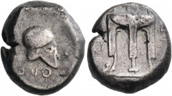 BRUTTIUM. Kroton. Circa 430-420 BC. Stater (Silver, 17 mm, 7.82 g, 6 h), an alliance issue with Temesa. ϘΡΟ ΤΕ (retrograde) Tripod. Rev. ϘΡΟ (retrogra...