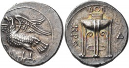 BRUTTIUM. Kroton. Circa 350-300 BC. Nomos (Silver, 23 mm, 7.67 g, 7 h). Eagle, with spread wings, standing to left on olive branch. Rev. KPO / Tripod ...