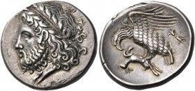 BRUTTIUM. Lokroi Epizephyrioi. Circa 400-350 BC. Nomos (Silver, 22 mm, 7.81 g, 9 h). Laureate head of Zeus to left. Rev. Eagle standing left with spre...