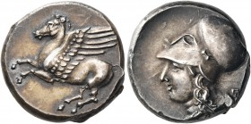 BRUTTIUM. Medma. 330-320 BC. Stater (Silver, 19 mm, 8.71 g, 3 h). Pegasos prancing to left. Rev. Head of Athena to left, wearing pearl necklace and Co...
