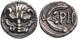 BRUTTIUM. Rhegion. Circa 415/0-387 BC. Litra (Silver, 9 mm, 0.79 g, 10 h). Lion's mask facing. Rev. ΡΗ Olive sprig, with two leaves and two berries. H...