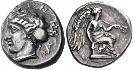 BRUTTIUM. Terina. Circa 420-400 BC. Nomos (Silver, 20 mm, 7.80 g, 5 h), signed by the engraver P... on both sides. ΤΕ[ΡΙΝΑΙO]Ν Head of the nymph Terin...