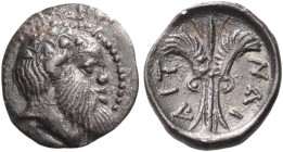SICILY. Aitna. Circa 460-450 BC. Litra (Silver, 11 mm, 0.63 g, 11 h). Bald and bearded head of Silenos to right, wearing ivy wreath. Rev. ΑΙΤ - ΝΑΙ Th...