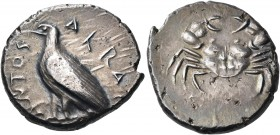 SICILY. Akragas. Circa 495-485 BC. Didrachm (Silver, 22 mm, 8.72 g, 10 h). AKRA-ΓΑΝΤΟS Eagle with closed wings standing to left. Rev. Crab. Westermark...