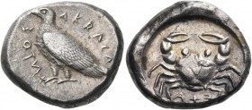 SICILY. Akragas. Circa 495-480/78 BC. Didrachm (Silver, 20 mm, 8.73 g, 7 h). AKRACA - NTOΣ Eagle standing left. Rev. ΕΧΑ (retrograde) Crab seen from a...