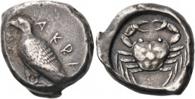 SICILY. Akragas. Circa 495-485 BC. Didrachm (Silver, 21 mm, 9.07 g, 9 h). ΑΚRΑ Eagle standing left with closed wings. Rev. Crab within a circular incu...